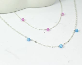 Opal station necklace. opal staion bracelet. three opal ball jewelry.blue opal ball. white opal.pink opal. three sister necklace. 3 best BBF