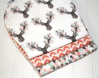 Woodland Baby Burp Cloth Set for Girls - Deer, Arrows, Buck Heads, Feathers, Baby Burp Clothes, Girl Burp Cloths, baby burp rags