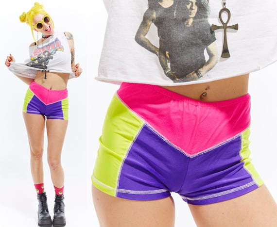 Vtg 90s Neon Colorblock Mini BOOTY SHORTS Stretch Wiggle Bodycon Bandage Hip Hop Dancewear Sporty Club Kid Rave Festival Go Go Bike Shorts