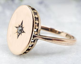 DEPOSIT LISTING FOR H Antique Edwardian 9ct Yellow Gold Solitaire Diamond Star Signet Ring Size N 1/2