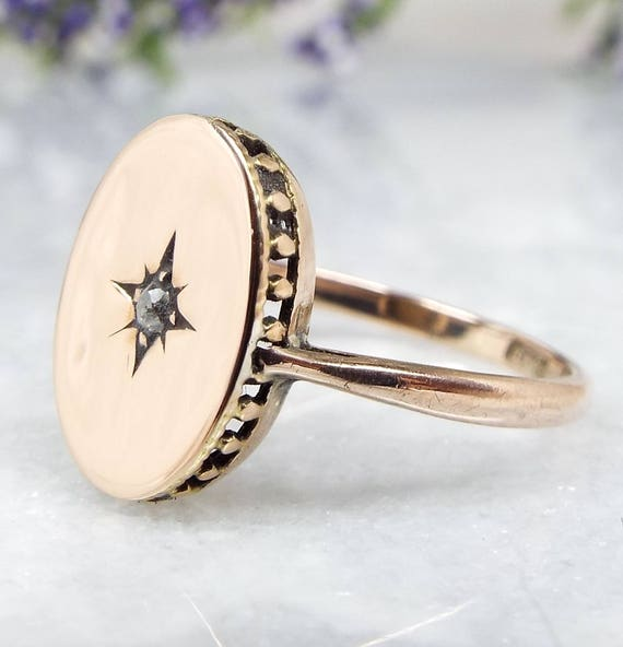 Antique Edwardian 9ct Yellow Gold Solitaire Diamond Star Signet Ring Size N 1/2