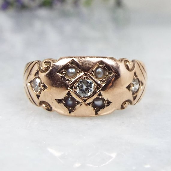 Antique Victorian 1863 9ct Yellow Gold Diamond & Pearl Gypsy Band Ring / Size M