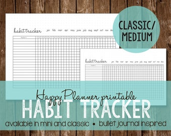 Habit Tracker | Happy Planner MAMBI 365 | Bullet Journal Inspired | Printable | Instant Download | Classic/Medium Size