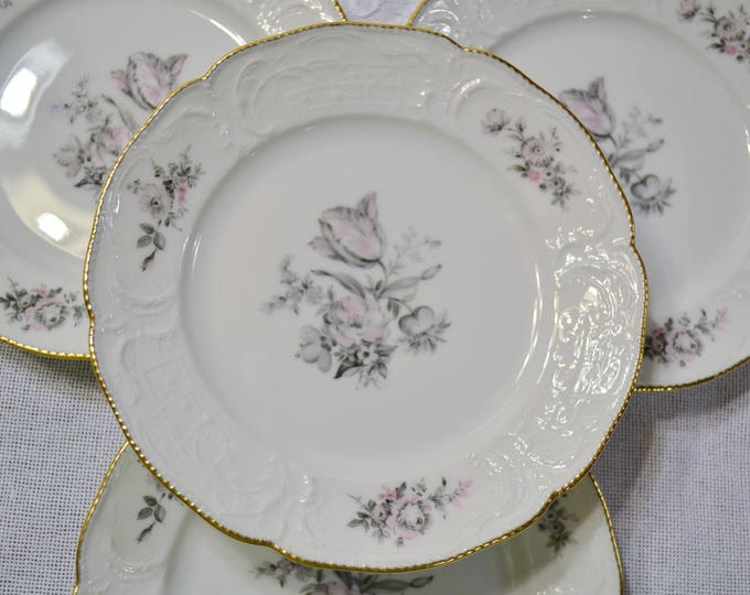 Vintage Rosenthal Grey Rose Bread Plate Set of 4 Sanssouci White Gray Pink Floral Germany PanchosPorch