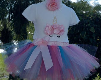 Unicorn 1st birthday girl outfit,one year old girl birthday outfit,birthday tutu outfit,unicorn photo prop,unicorn onesie, 1 year old dress