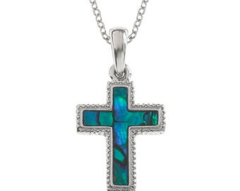 Tide Jewellery Paua Shell Cross Pendant Gift Boxed