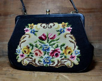 Vintage tapestry bag, embroidered handbag, black purse