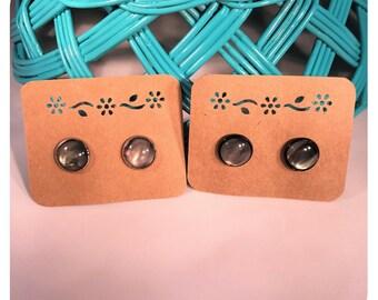 12mm Black Faux Shell, Micro Glitter Cabochon Stud Earrings