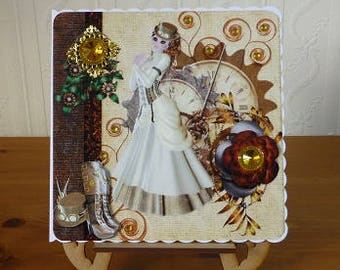 Steampunk Birthday Card, for Wife, Daughter, Mum, Grandma, etc.