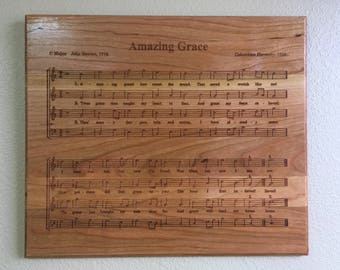 Amazing Grace - Cherry Wall Decor - Laser Engraved