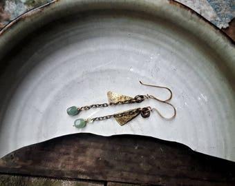 Brass 》Dangle》Chain 》EARRINGS 》AVENTURINE  》