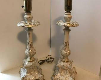 Gorgeous boudoir gilt and cream pottery lamps - PAIR
