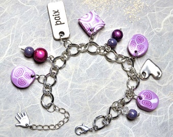 Romantic bracelet, my heart in pink blush