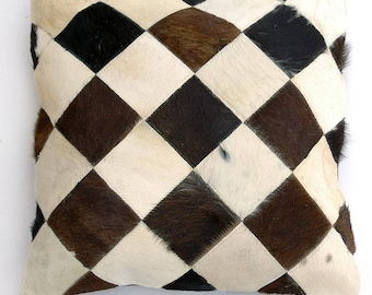 Natural Cowhide Luxurious Patchwork Hairon Cushion/pillow Cover (15''x 15'')a164