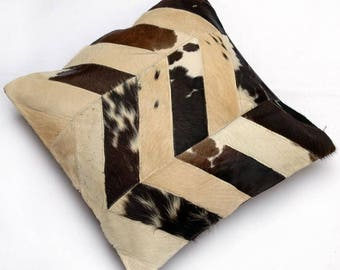 Natural Cowhide Luxurious Patchwork Hairon Cushion/pillow Cover (15''x 15'')a255