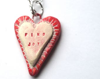 Heart Find Joy polymer clay pendant necklace original art by Cortney Rector Designs