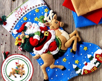 "Bucilla Reindeer Santa ~ 18"" Felt Christmas Stocking Kit #86816, Stars, Rudolph DIY"