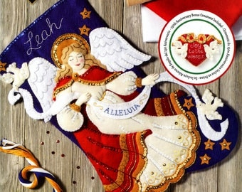 "Bucilla Christmas Angel ~ 18"" Felt Stocking Kit #86860 Doves, Stars, Celestial DIY"