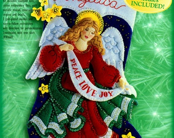 "Celestial Angel 18"" Bucilla Felt Christmas Stocking Kit #83956"