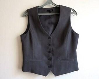Grey Striped Womens Vest Grey Waistcoat Steampunk Vest Formal Waistcoat Large Size