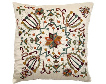 Embroidered Bengali CUSHION COVER - Richly Embroidered Floral design 2
