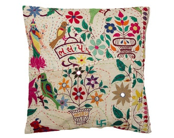 Embroidered Gujurati CUSHION COVER - Design 9 – 40 x 40 – Silk embroidered design with Lakshmi the Goddess of Wealth and Purity