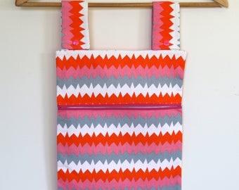 Peg Bag, Clothes Pin Bag, Peg Storage, Laundry Bag, - Pink Grey White Orange Zig zags, Laundry Peg Holder,