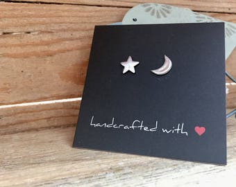 Fine Silver Moon & Star Earrings