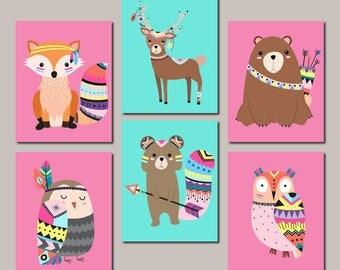Girl Woodland Nursery Decor Girl Nursery Wall Art Tribal Woodland Animals Pink Aqua Tribal Nursery Pictures Set Of 6 Prints Or Canvas