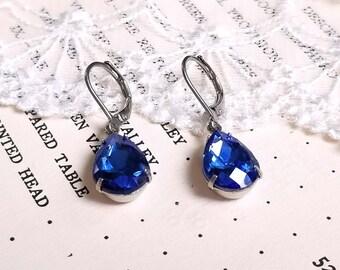 Sparkling pear shape teardrop sapphire blue crystal drop earrings Leverback silver earwires Vintage inspired Gift earrings