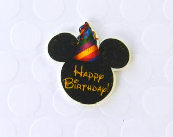 Happy Birthday Mickey Pin Mouse Head Ears Handcrafted Brooch Flair Lapel Pin Tie Tack Hat Pin