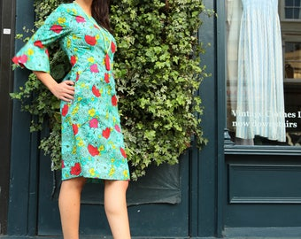 SALE-Retro Mid Length  Green Dress with Flower Red 3/4 Sleeve Fitted with Pockets in Cotton Handmade Print