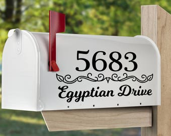 Custom mailbox decal.  Personalized mailbox sticker, set of 2 or 1.  Mailbox address decal.  Mailbox lettering decal.