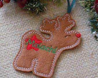 reindeer christmas decoration, personalised christmas decoration, christmas decoration, tree decoration, reindeer star, xmas tree decoration