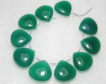 Green Onyx - 5 Matching Pairs - Smooth - Heart Shape - size 22x22 mm