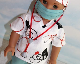 18 Inch Doll (like American Girl) Medical Instrument Print Classic Green Hospital Scrubs with Stethoscope (5 piece set)