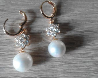 Vintage Faux White Pears Round - Rhinestones Charming Women Long Earrings