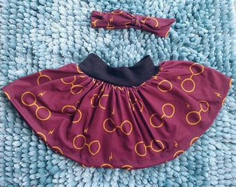 Harry Potter Glasses baby toddler girl twirl skirt heaband, Harry Potter Glasses kids girl twirl skirt, birthday girls skirt with headband