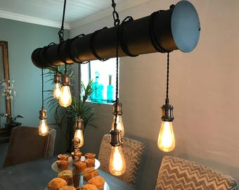 Handcrafted 7 light industrial steel tube with cloth cord wrap (l.e.d. bulbs included) free shipping Chandelier Lighting,, Steel chandelier,