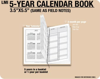 FIELD NOTES 5-year Calendar Book / 2018 2019 2020 2021 2022 - Inserts Refills Filofax Binder Collins