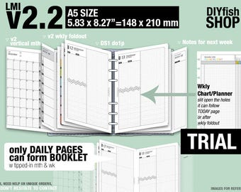 Trial [A5 v2.2 w DS1 do1p] April to June 2018 - Filofax Inserts Refills Printable Binder Planner Midori.