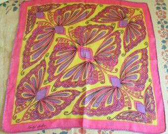 Vintage Retro Mod Faith Austin Butterfly Butterflies Linen Hanky in Pink Purple and Yellow Signed Hankie Handkerchief