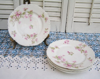 4 Antique Haviland Limoges Dessert Plates Blank #1 Pink Blossoms Dainty with Pink Flowers Tea Party Plates made in France