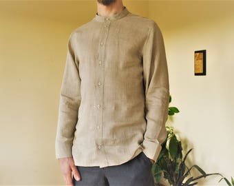 Natural linen classic handmade men's shirt