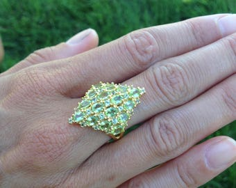 925 Silver + 18K Gold - Authentic Victoria Townsend Peridot Ring 5g - Peridot Ring Size 7 - 925 Sterling Silver Peridot Ring - 18K Gold Ring