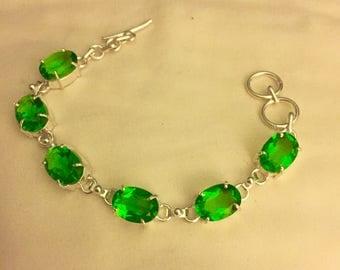 "Beautiful Peridot Bracelet - Peridot Bracelet - Sterling Silver Peridot Bracelet - Vintage Peridot Bracelet - 7"" Adjustable Peridot Bracelet"