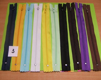 zippers 20cm x 10 units, color mixed no. 3