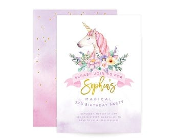 Magical Unicorn Birthday Invitation - First Birthday Invitation, floral, watercolor, spring