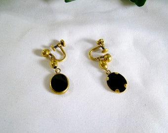 Vintage 40's-50's 12kt Gold Filled Onyx Drop Screw Back Earrings