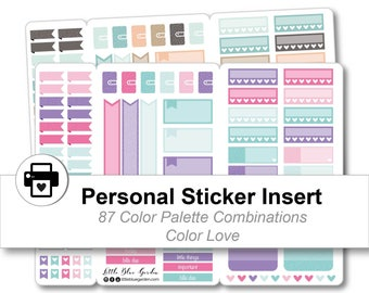 Personal Traveler's Notebook Sticker Insert, Printable Planner Stickers Kit, Floral Planner Accessories, Weekly Planning Pages, DIY Stickers